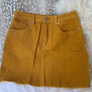 Mustard Corduroy Forever 21 Skirt